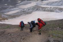 Крутой спус с перевала Ирик-Чат (на юг)